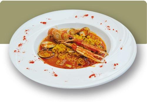 Mellow rice with norway lobster and clams - Arroz con gambas y almejas ...